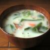 卵・乳製品不使用 大葉豆乳スープのレシピ